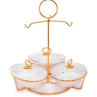 3 Pcs Oval Food Warmer With Stand