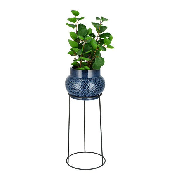 Ceramic Planter With Black Metal Stand Blue image number 1