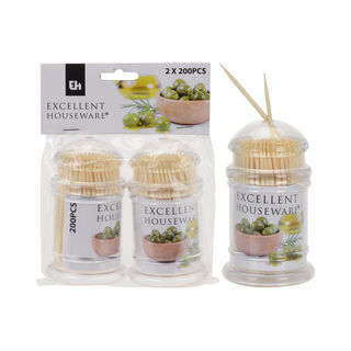 2 Pieces Bamboo Toothpick Set With 200 Pieces Per Bottle