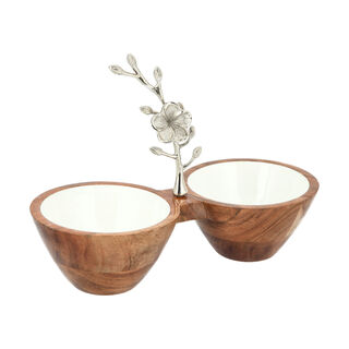 La Mesa 2 Parts Wood Circular Nuts Bowl Metal Floral Silver