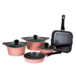 Alberto Tulip Aluminium Cookware Set 8Pcs With Glass Lids Pink Color