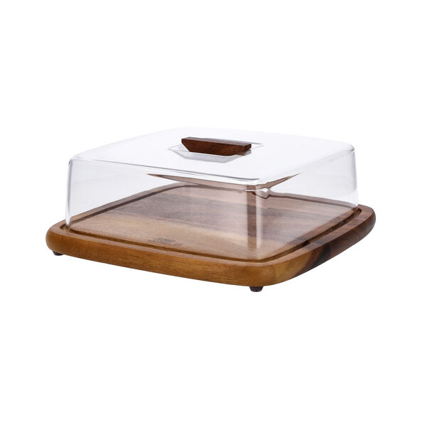 Acacia Wood Square Cake Domewith Acrylic Cover image number 1