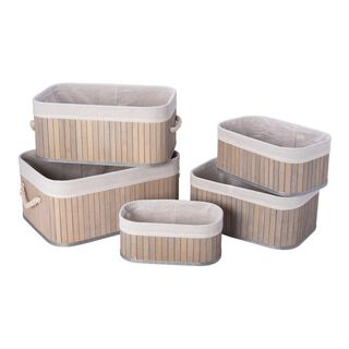 Natural Bamboo Basket Set 5 Pisces