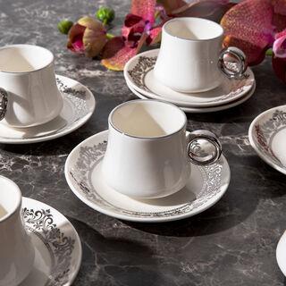 طقم فناجين قهوة تركية بورسلان 12 قطعة فضي