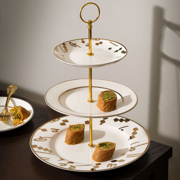 La Mesa 3 Tiers Porcelain Dessert Serving Gold image number 1
