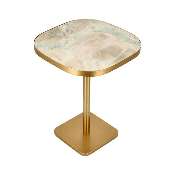 Side Table Gold Base Black White&Green Marble image number 1