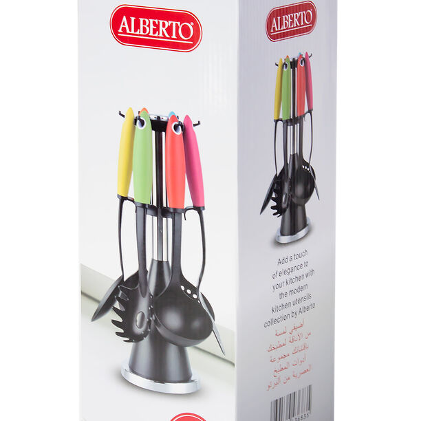 6Pcs Utensil Set With Stand Assorted Colors image number 2