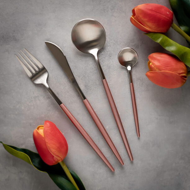 16 Pcs Modern Cutlery Set Silver And Pink Handle image number 0