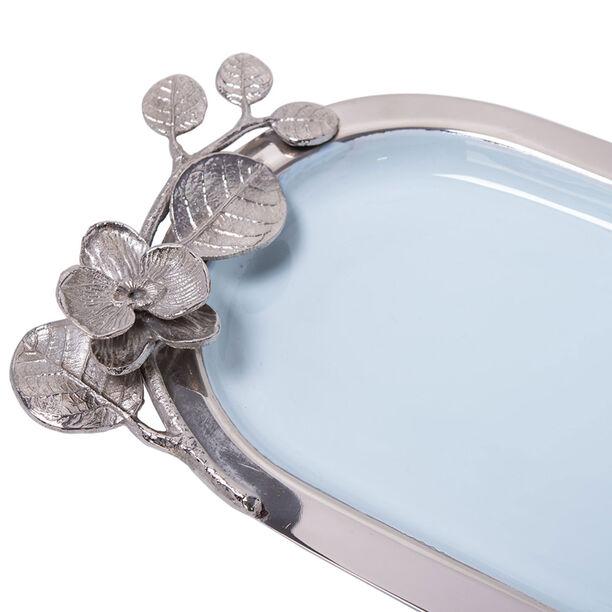 صينية تقديم بيضاوية الشكل لون ازرق وفضي من لاميسا image number 2