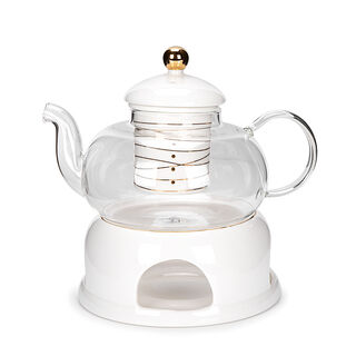 English Tea Pot With Warmer Inner Edg2 Gold