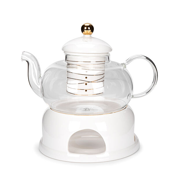 English Tea Pot With Warmer Inner Edg2 Gold image number 0