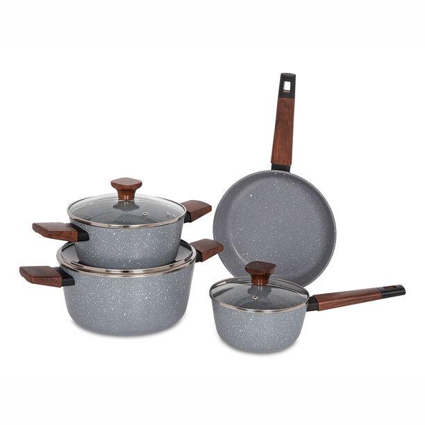 Alberto 7Pcs Non Stick Grey Cookware Set image number 1