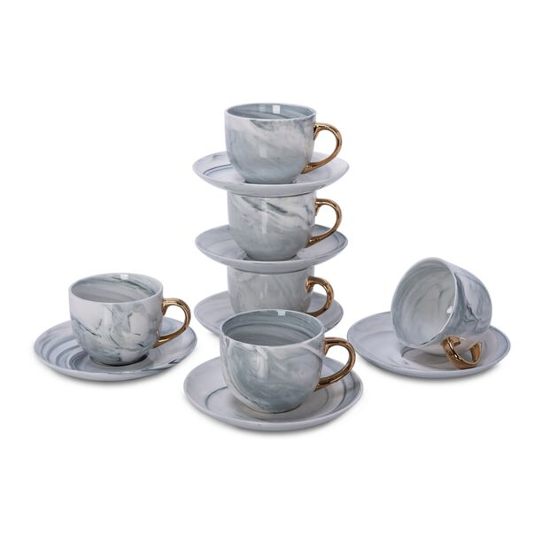 La Mesa Tea Cup & Saucer Set 12 Pieces Grey Marble With Gold image number 1