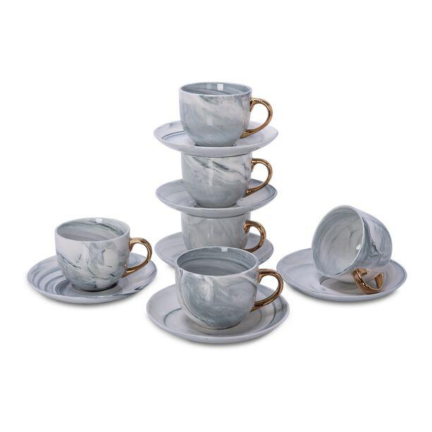 طقم أكواب شاي مع صحون 12 قطعة رخام رمادي مع ذهبي من لاميسا image number 2