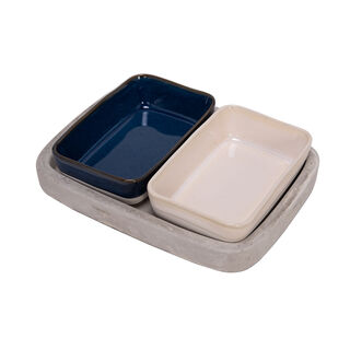 2 Pcs Nuts Dish On Cement Tray 10 Cm
