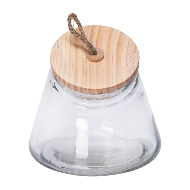 Alberto Leaning Glass Jar With Wooden Lid 1600Ml image number 2