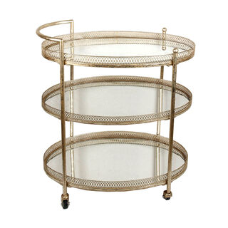 Serving Trolley 3 Tier Metal Gold