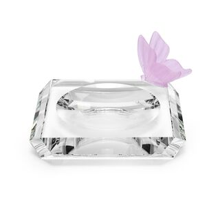 Ashtray Square With Crystal Butterfly Pink