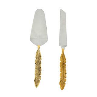 La Mesa 2 Pieces Cutlery Leaf Golden Handle Silver