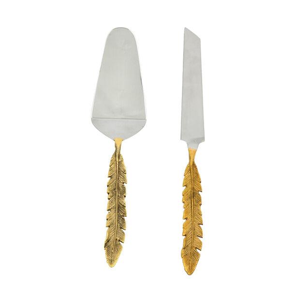 La Mesa 2 Pieces Cutlery Leaf Golden Handle Silver image number 1