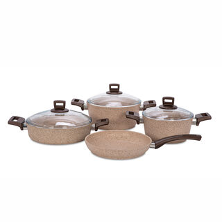 Alberto Granite Cookware Set 7 Pieces Brownstone