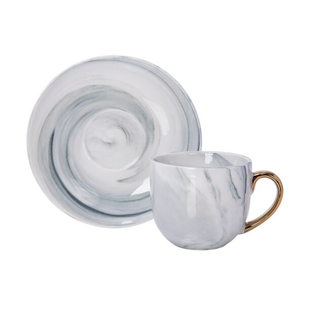 La Mesa Grey Marble/Gold Coffee Set 12 Pieces image number 2