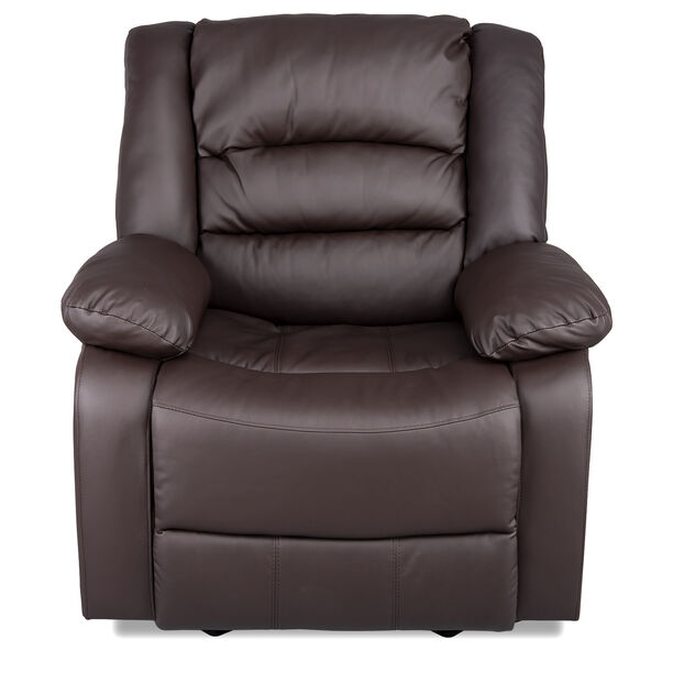 Rocking Recliner Chair Leather Brown image number 1