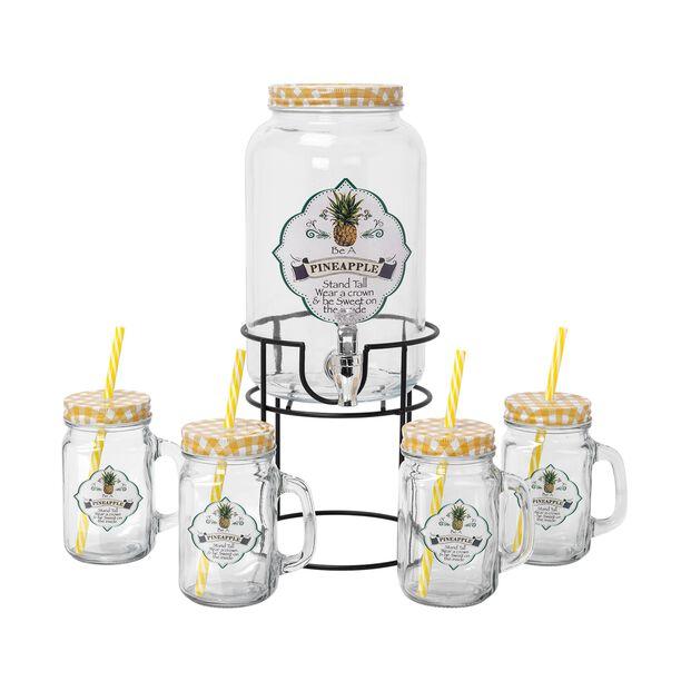 طقم موزع عصير زجاجي مع 4 اكواب سعة 3000+450 مل تصميم أناناس من البرتو image number 0