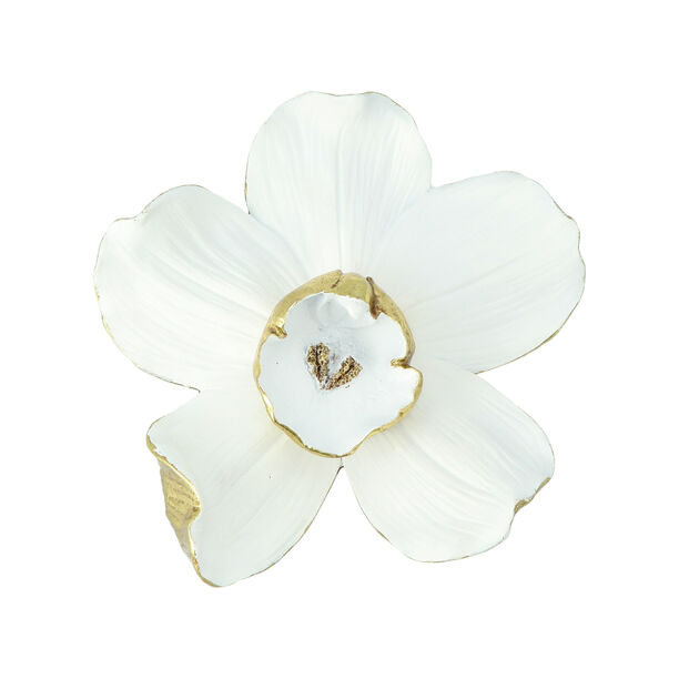 Wall Accent Orchid Flower White And Gold  image number 2