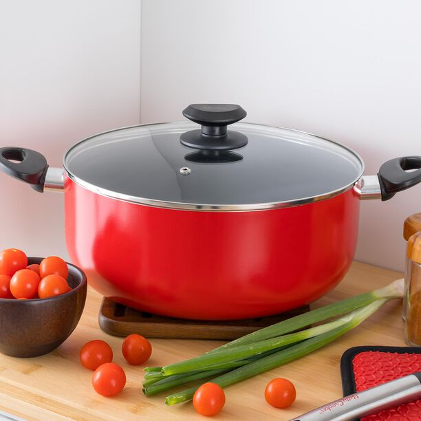 Betty Crocker Non Stick Stockpot With Glass Lid Red Color  image number 2