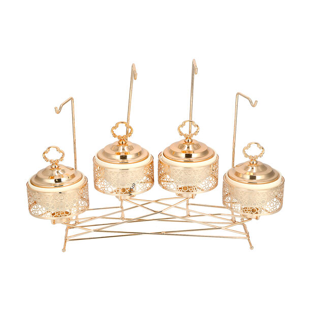 """4 pieces Round Food Warmer Set With Candle Stand Gold 5"""" image number 4"""