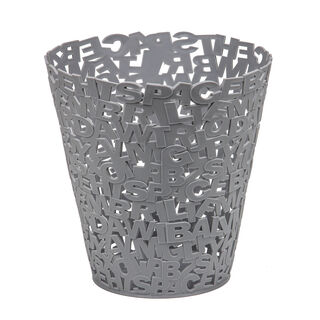 Plastic Waste Bin Alphabet Grey