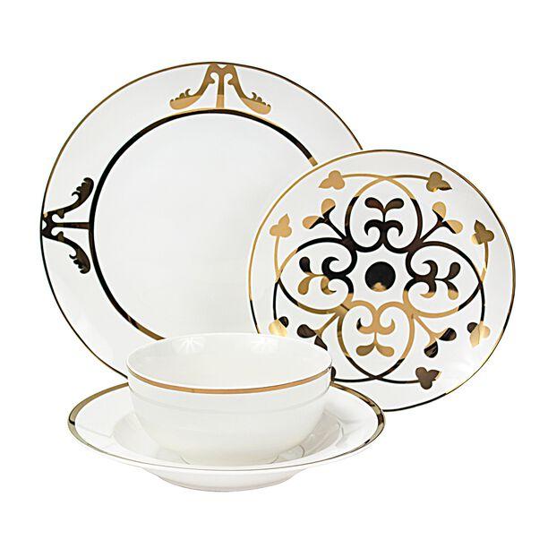 La Mesa Porcelain Dinner Set 16 Pieces Gold image number 1