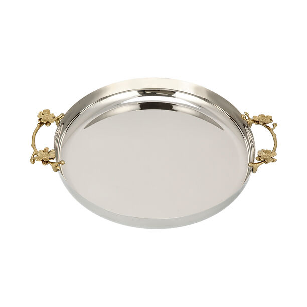 Steel Round Tray 1Pc Harmony Gold And Silver image number 2