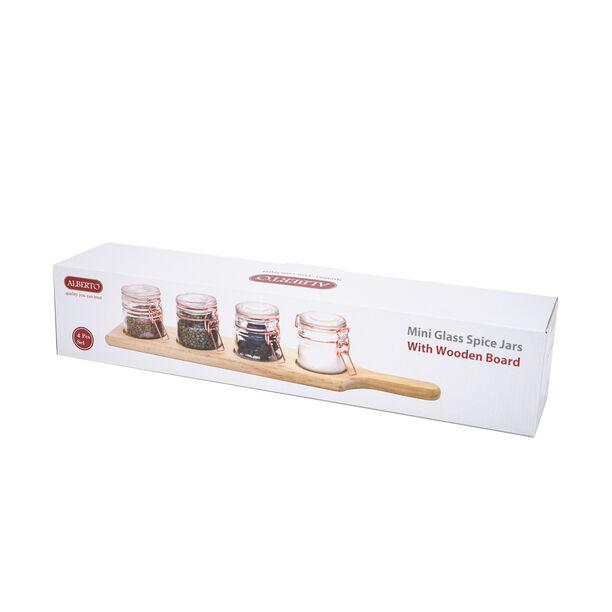 طقم برطمانات زجاج 4 قطع بغطاء نحاسي وحامل خشبي من البرتو image number 2