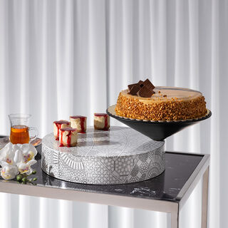 Abundance Cake Plate Black Top Printed Base
