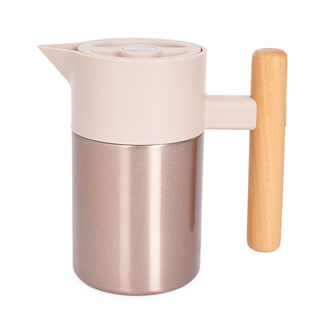 Dallety Steel Vacuum Flask Nature With Wood Handle Champagne Mini , 800 Ml