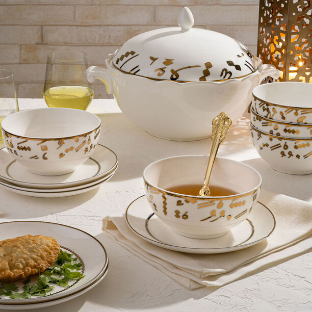 La Mesa Porcelain Soup Tureen Set 14 Pieces Gold image number 2