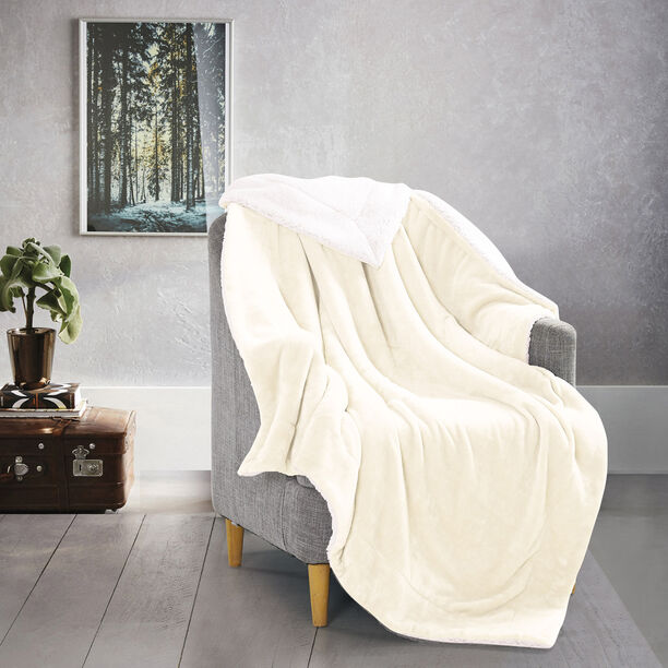 Cottage Flannel Sherpa Throw White image number 4