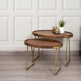 Wooden Oval Side Table Set 2 Pieces