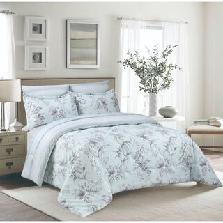 Cottage 3 Pieces Comforter Set Twin Size Uskudar Ice Blue