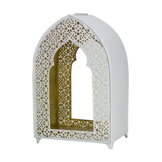 Metal Lantern Moroccan Coated Gold Inside White image number 0
