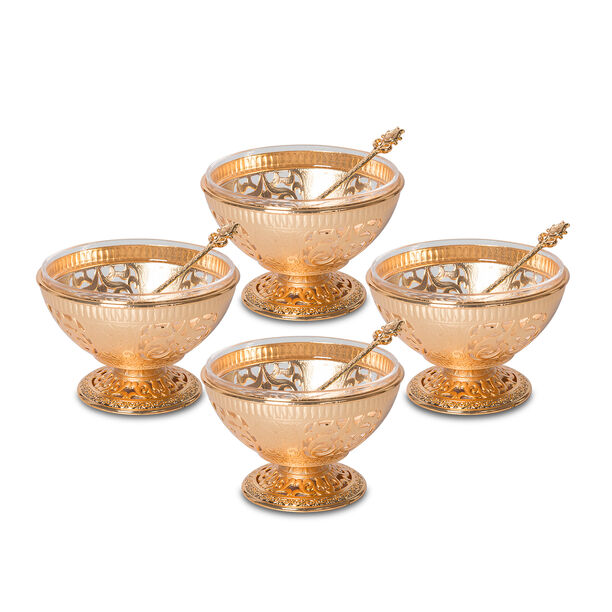 4 Pcs Bowl Set With Spoon Gold Color image number 0