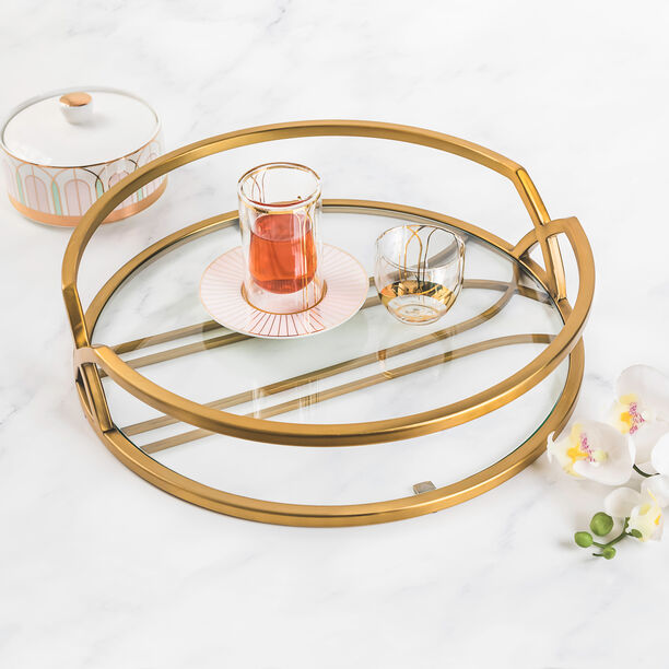 1Pcs Glass And Metal Tray Gold Blushed image number 0
