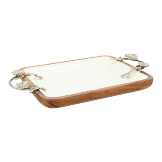 La Mesa Rectangle Serving Dish With Handle Small Enamel Silver 28X23Cm