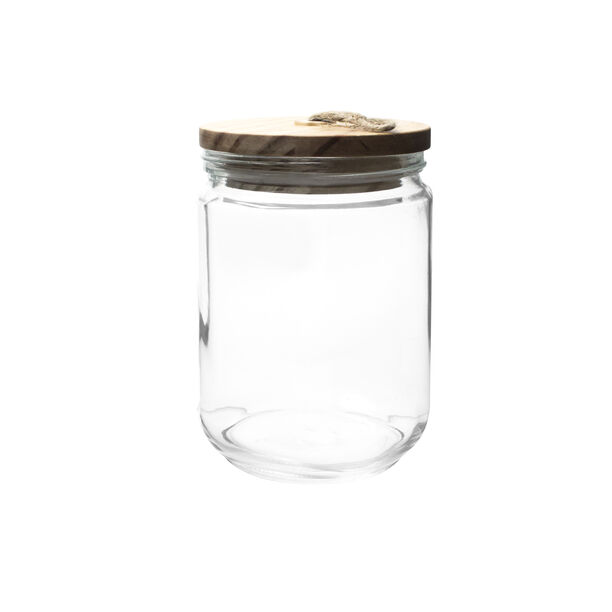 Alberto Glass Canister With Wooden Lid And Hemp Rope 1700Ml image number 0