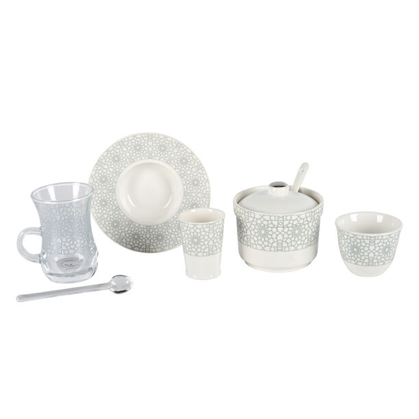 Zukhroof 28 Pieces Porcelain Tea And Coffee Set Othmani Gray Serve 6 image number 2