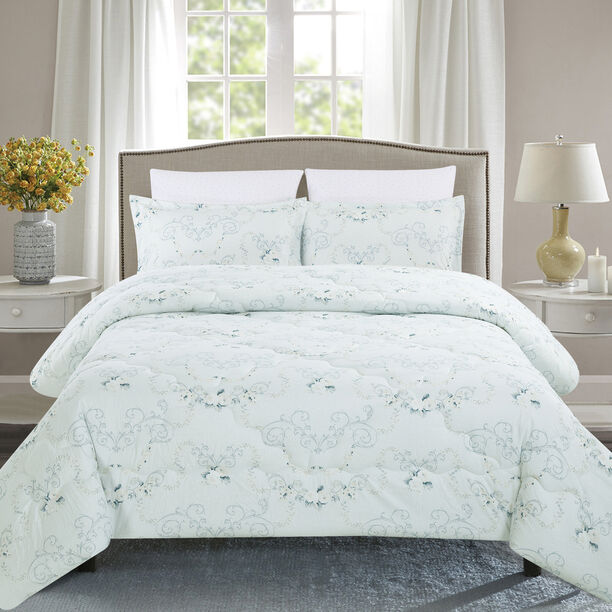 Cottage 3 Pieces Comforter Set Twin Size Macka Ice Blue image number 0