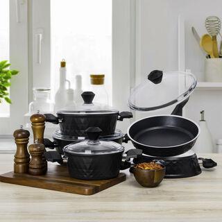 9Pcs Diamond Cookware Set With Glass Lid Black