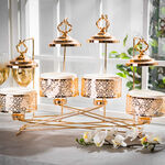 """4 pieces Round Food Warmer Set With Candle Stand Gold 5"""" image number 0"""